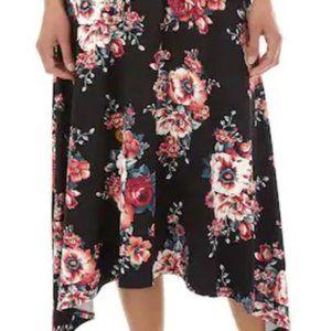 Apt. 9 Black with Floral Print Sharkbite Hem Skirt